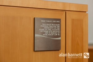 Fordham University School of Law Class of 1984 dedicates the Moot Court jury box to the memory of Marc Farley
