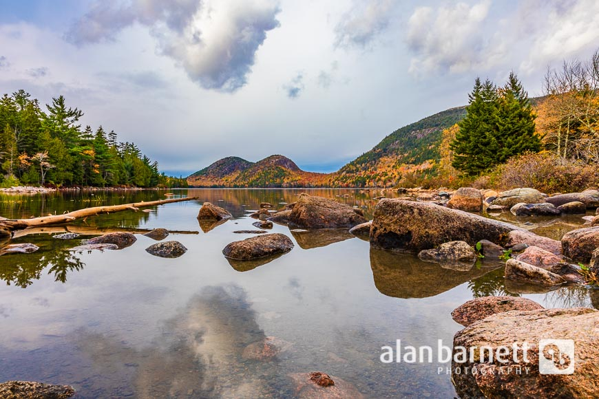 Jordan Pond and the Bubble Mountains in Acadia National Park, Bar Harbor, Maine